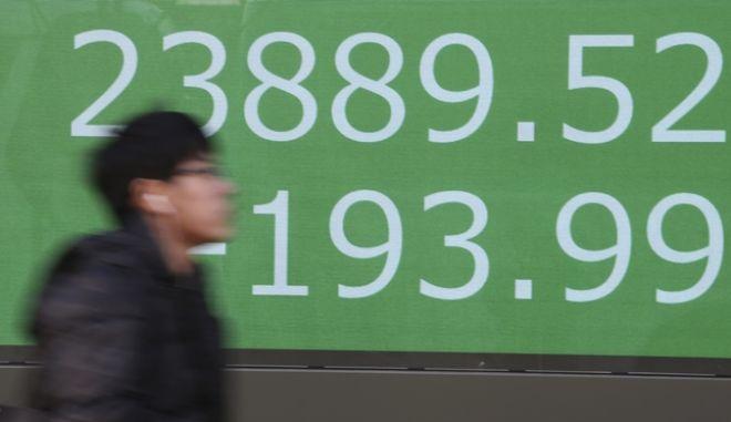 Πίνακας χρηματιστηριακών συναλλαγών στο Τόκιο
