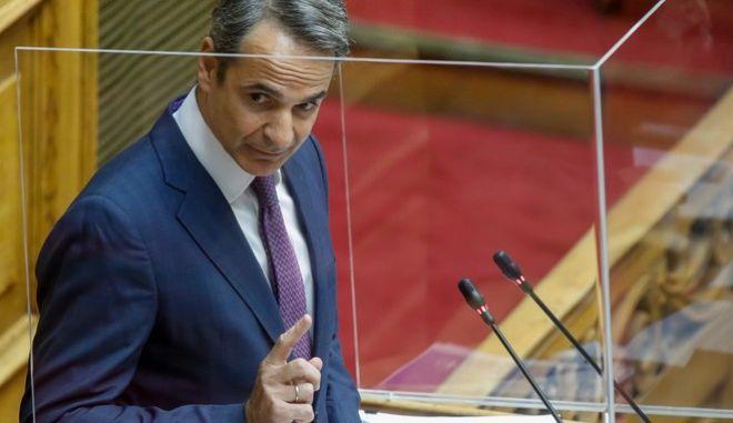 Ο πρωθυπουργός, Κυριάκος Μητσοτάκης στο Βήμα της Βουλής.