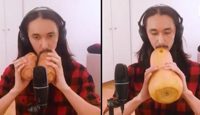 Μουσικός παίζει τo Africa των Toto με γλυκοπατάτες και κολοκύθα
