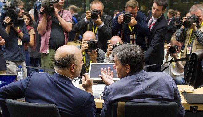 Δεύτερη ημέρα συνεδρίασης του Eurogroup την Κυριακή 12 Ιουλίου 2015, στις Βρυξέλλες.  (EUROKINISSI/ΕΥΡΩΠΑΪΚΗ ΕΝΩΣΗ)
