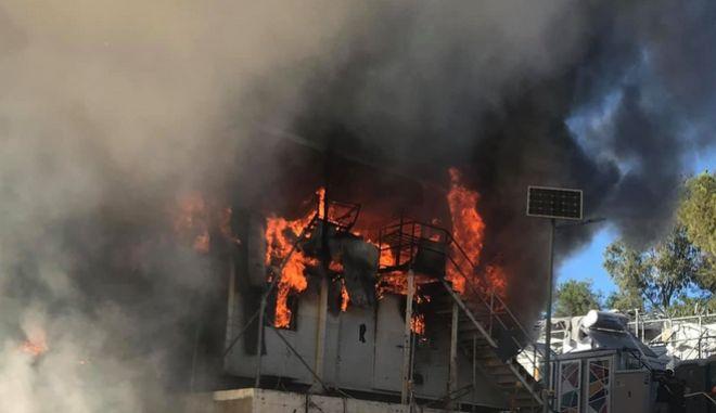 Πυρκαγιά στο Κέντρο Υποδοχής στη Μόρια της Λέβου το απόγευμα της Κυριακής 29 Σεπτεμβρίου 2019.