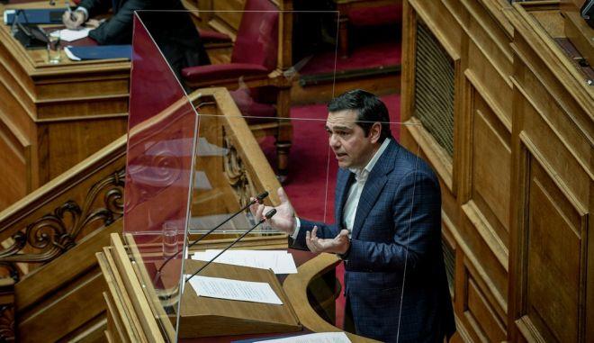 Ο Αλέξης Τσίπρας στο βήμα της Βουλής