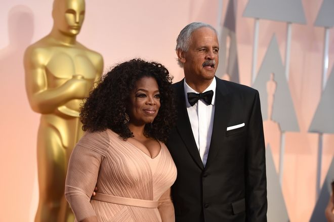 Oprah Winfrey, left, and Stedman Graham arrive at the Oscars on Sunday, Feb. 22, 2015, at the Dolby Theatre in Los Angeles. (Photo by Jordan Strauss/Invision/AP)
