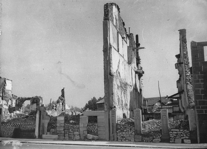 Buildings in the ancient Basque village of Guernica are laid waste after an unprovoked aerial attack by German Luftwaffe, April 27, 1937.  One-third of the 5,000 inhabitants of the village were killed in the attacks.  (AP Photo)