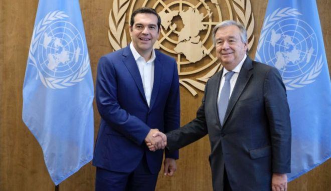 Από τη συνάντηση του πρωθυπουργού με το Γενικό Γραμματέα του ΟΗΕ