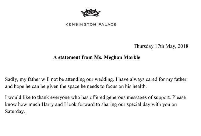 Η δήλωση της Μέγκαν Μαρκλ για την απουσία του πατέρα της Τόμας από τον γάμο της με τον Πρίγκιπα Χάρι