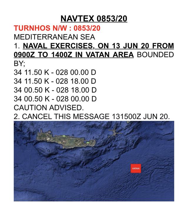 NAVTEX Τούρκων νοτιοανατολικά της Κρήτης με το όνομα Πατριδα