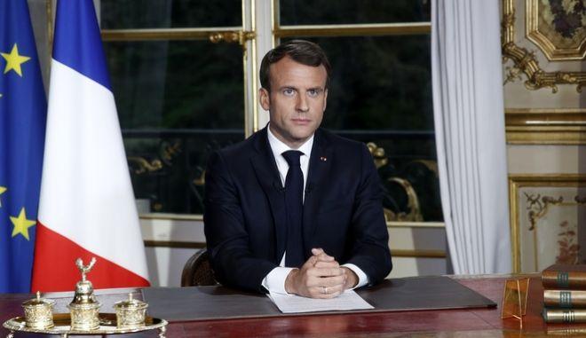 Κατά τη διάρκεια του διαγγέλματος από τον Γάλλο Πρόεδρο Ε.Μακρόν