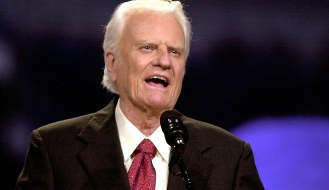 The Rev. Billy Graham speaks during the Mission Metroplex at Texas Stadium in Irving, Texas, Thursday, Oct. 17, 2002. Graham on Thursday launched a four-day mission in Dallas-Fort Worth that could hold historic implications because the evangelist has announced no future plans after decades on the preaching circuit. (AP Photo/LM Otero)