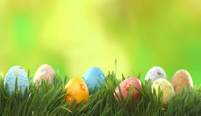 Πασχαλινά αυγά σε ανοιξιάτικο φόντο