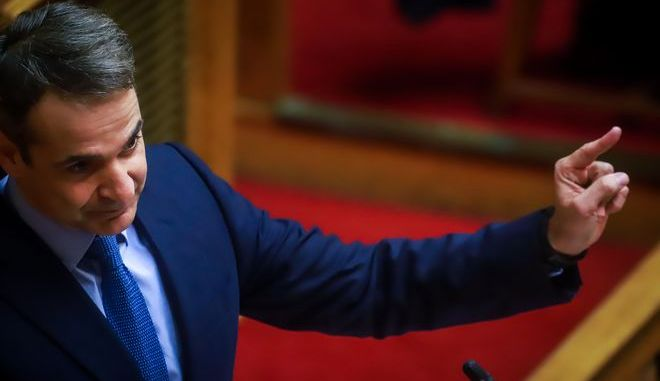Ο Κυριάκος Μητσοτάκης κατά τη συζήτηση και ψήφιση επί της αρχής της ρύθμισης περί της μη μείωσης των συντάξεων