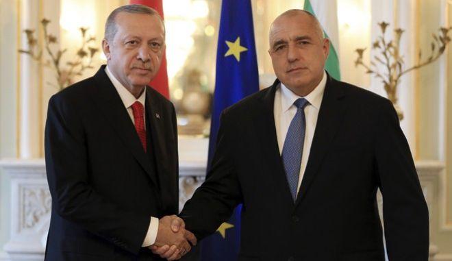 Ταγίπ Ερντογάν και Μπόικο Μπορίσοφ (Murat Cetinmuhurdar/Pool Photo via AP)