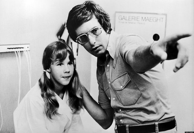 Linda Blair et William Friedkin sur le tournage de l'Exorciste 1974