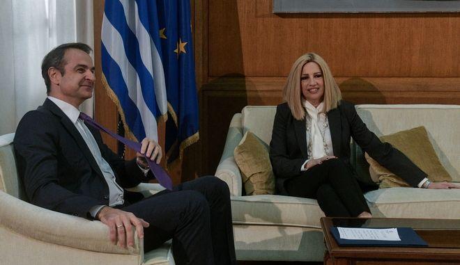 Συνάντηση του πρωθυπουργού Κυριάκου Μητσοτάκη με την πρόεδρο του ΚΙΝΑΛ Φώφη Γεννηματά