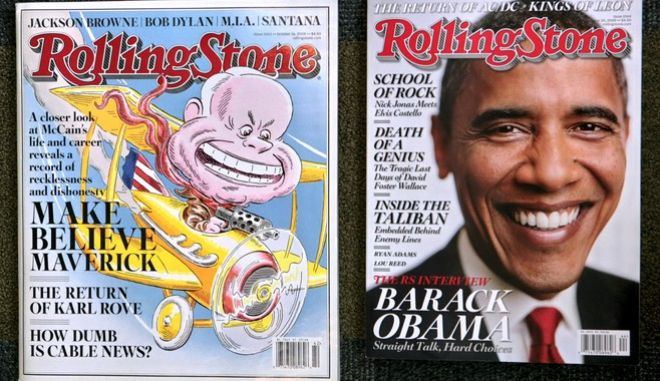 A comparison of Rolling Stone magazine's last issue in its larger format, left, and its shrunken new issue,  New York, Monday Oct. 20 , 2008.  After more than four decades of standing out with an oversized format, the magazine will look like everyone else starting with the Oct. 30 issue out this week. (AP Photo/Bebeto Matthews)