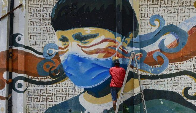 Γκράφιτι για τον κορονοϊό στη Βενεζουέλα