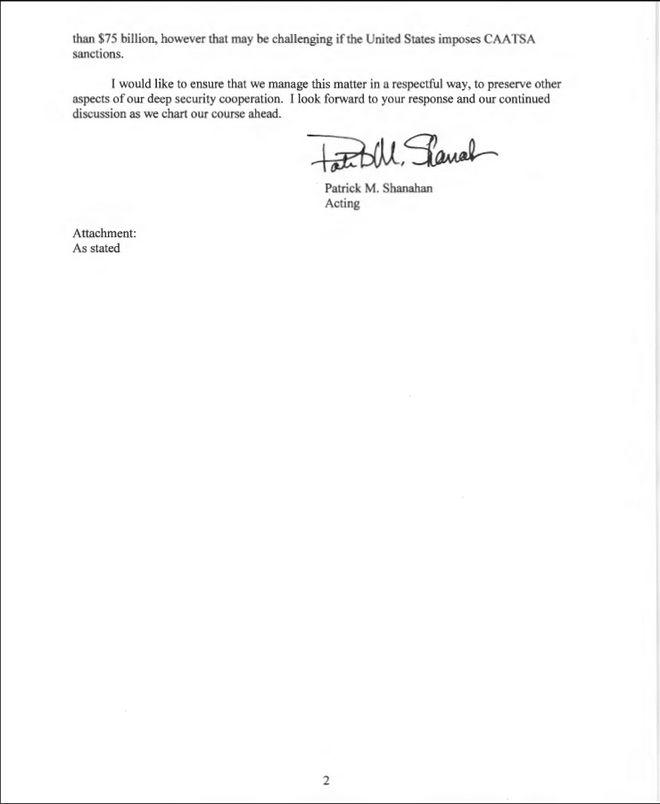 ΗΠΑ: Στο φως η επιστολή Σάναχαν στον Χουλουσί Ακάρ για τους S-400