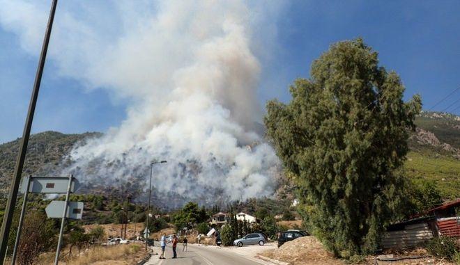 Καρέ από τη φωτιά στην περιοχή Λουτρακίου - Περαχώρας