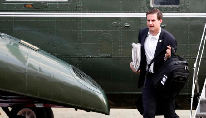 White House aide John McEntee steps off Marine One at the White House, Sunday, March 19, 2017, in Washington. President Donald Trump, who is returning from a trip to his Mar-a-Lago estate in Palm Beach, Fla. (AP Photo/Alex Brandon)
