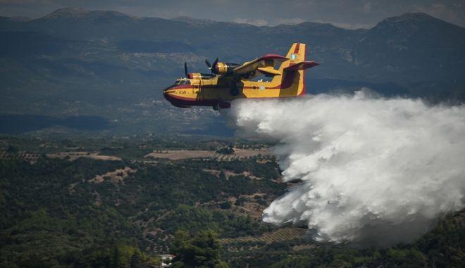 Αεροσκάφος Καναντέρ επιχειρεί σε πυρκαγιά σε δασική έκταση, Αρχείο