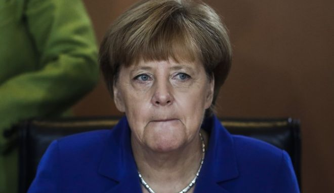 German Chancellor Angela Merkel leads the weekly cabinet meeting at the chancellery in, Berlin, Germany, Wednesday, Oct. 7, 2015. (AP Photo/Markus Schreiber)