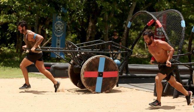 Νικόλας Αγόρου και Γιάννης Τσίλης σε αγώνα επάθλου στο Survivor 2