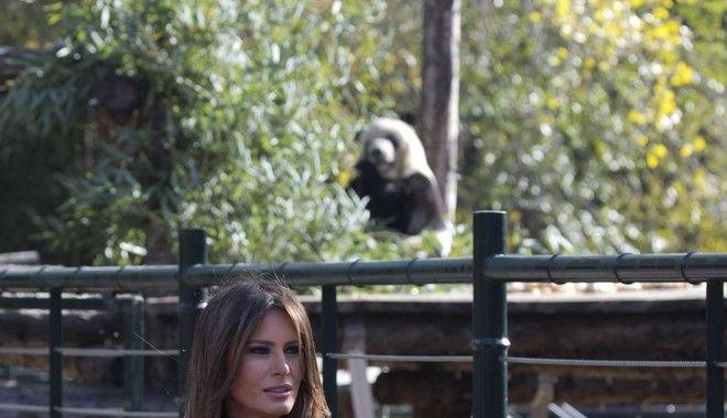 U.S. first lady Melania Trump poses for photos near the Panda enclosure at the zoo in Beijing Friday, Nov. 10, 2017. (AP Photo/Ng Han Guan)