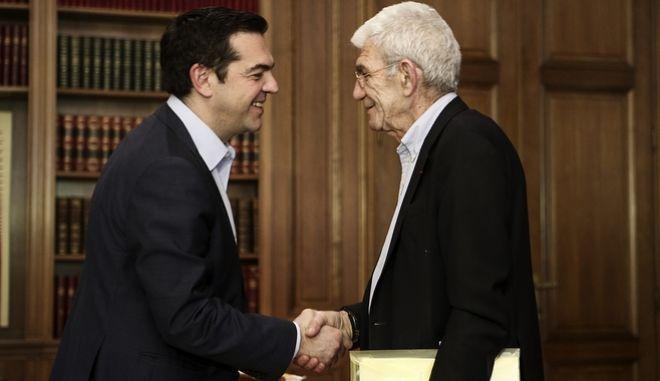 Ο Αλέξης Τσίπρας και ο Γιάννης Μπουτάρης σε παλαιότερη συνάντηση τους στο Μαξίμου