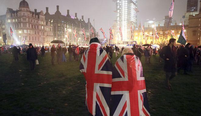Η Parliament Square κατά τους εορτασμούς για το Brexit