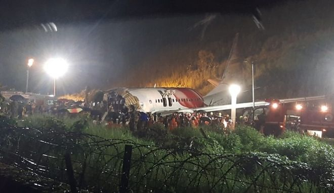 Εικόνα από το αεροπορικό δυστύχημα στην Ινδία