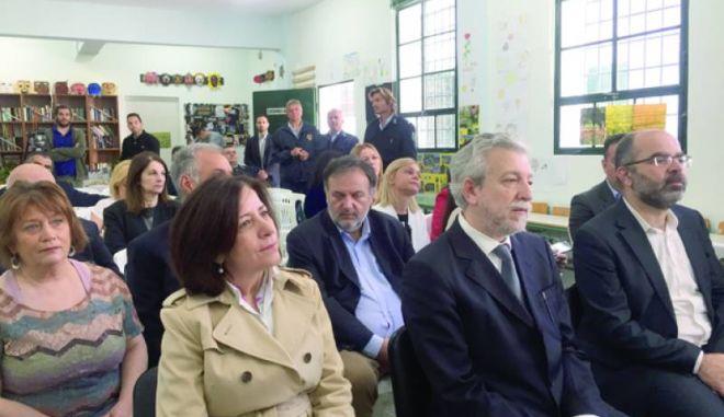 Ο υπουργός Δικαιοσύνης Σ. Κοντονής στα εγκαίνια του σχολείου των φυλακών Ναυπλίου
