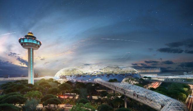 """Το """"κόσμημα"""" της Σιγκαπούρης: Εγκαινιάζεται αεροδρόμιο με εσωτερικό καταρράκτη"""