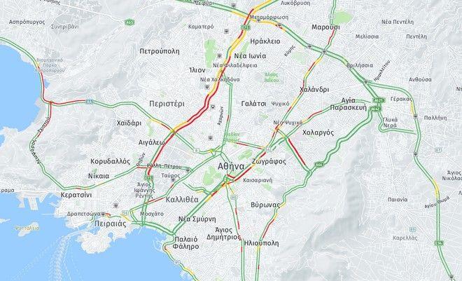 Κίνηση στους δρόμους: Μαρτύριο για τους οδηγούς, λόγω βροχής - LIVE ΧΑΡΤΗΣ