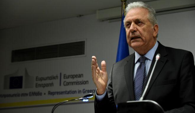 Συνέντευξη τύπου του Επιτρόπου Μετανάστευσης, Εσωτερικών Υποθέσεων και Ιθαγένειας της Ευρωπαϊκής Ένωσης Δημήτρη Αβραμόπουλου την Παρσακευή 9 Φεβρουαρίου 2018. (EUROKINISSI/ΤΑΤΙΑΝΑ ΜΠΟΛΑΡΗ)