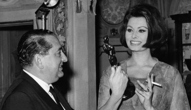 Italian actress Sophia Loren holds the Oscar she won for best actress in the film Two Women, brought to her by Joseph Levine, the distributor of the film in the United States, in her home in Rome, on April 15, 1962. Sophia could not keep the statue as it had to returned to the States to have her name engraved on it. (AP Photo)
