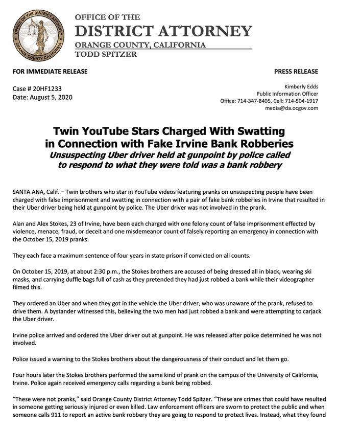Δίδυμοι Youtubers έστησαν ψεύτικη ληστεία και αντιμετωπίζουν κανονικές κατηγορίες