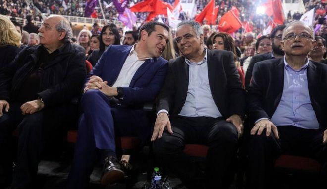 Ο Αλέξης Τσίπρας με τους κ.κ. Βούτση, Σκουρλέτη και Παπαδημούλη στο Γαλάτσι
