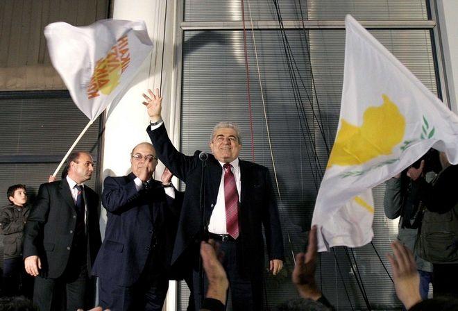 Ο Δημήτρης Χριστόφιας στις 17 Φεβρουαρίου 2008 στην Λευκωσία, μετά τη νίκη του στον α' γύρο των προεδρικών εκλογών (AP Photo/Petros Karadjias)