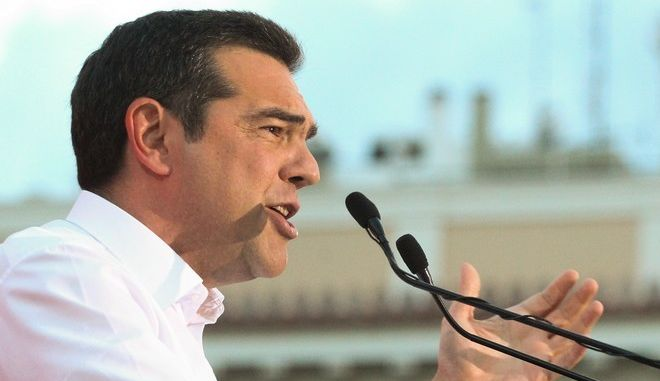 Στιγμιότυπο από ομιλία του πρωθυπουργού Αλέξη Τσίπρα