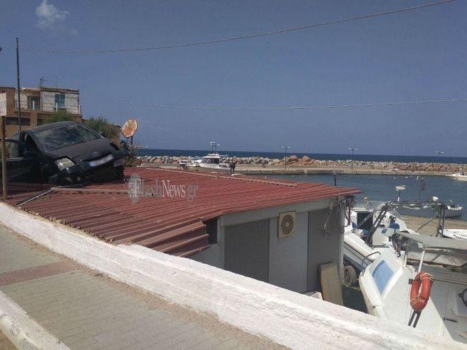 Κρήτη: Αυτοκίνητο έπεσε σε σκεπή σπιτιού
