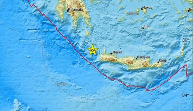 Το επίκεντρο του σεισμού μεταξύ Κυθήρων και Κρήτης