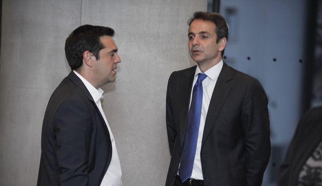 Ο Αλέξης Τσίπρας και ο Κυριάκος Μητσοτάκης
