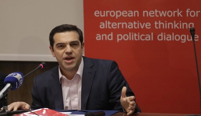 Greek Premier Alexis Tsipras talks at the Economy faculty of the University in Rome, during a conference Thursday, March 23, 2017. (AP Photo/Alessandra Tarantino)