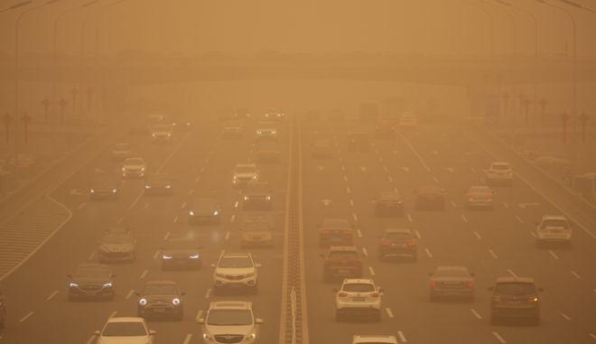Φωτογραφία αρχείου από την αμμοθύελλα που έπληξε τον Μάρτιο του 2021 τη Κίνα.