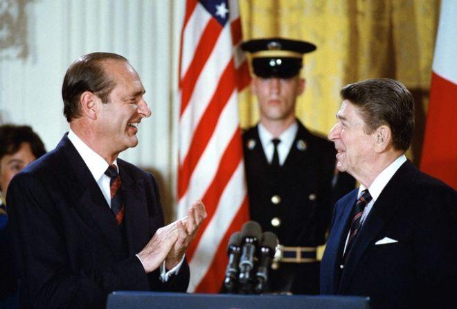 O Ζακ Σιράκ με τον Ρόναλντ Ρέιγκαν στο Λευκό Οίκο