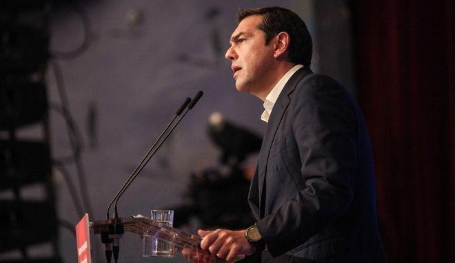 Στιγμιότυπο από την ομιλία του Πρωθυπουργού Αλέξη Τσίπρα στο 3ο Περιφεριακό Συνέδριο για την παραγωγική ανασυγκρώτηση στη Κρήτη. Πέμπτη 21 Σεπτεμβρίου 2017 (EUROKINISSI)