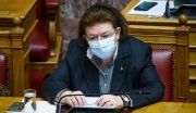 Η Λίνα Μενδώνη στη συζήτηση επίκαιρων ερωτήσεων στην ολομέλεια της Βουλής, την Δευτέρα 1 Μαρτίου 2021.