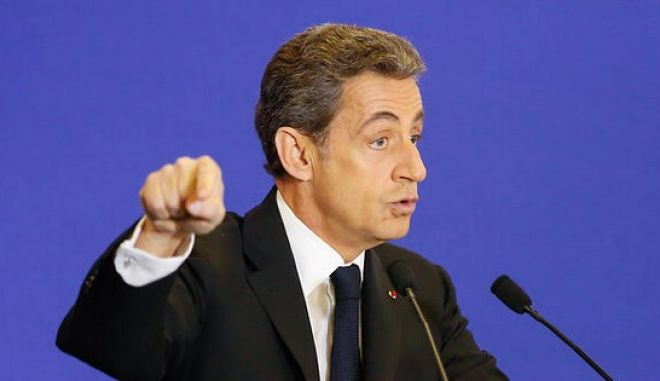 FRANCE, Paris: French leader of conservative UMP party Nicolas Sarkozy gives a speech in Paris, capital of France, for the 24 hours for our regions action, on March 7th, 2015.With this action, the party stands up for the 2015 regional elections. (AAP Image/NEWZULU/JALLAL SEDDIKI). NO ARCHIVING, CROWD SOURCED CONTENT, EDITORIAL USE ONLY