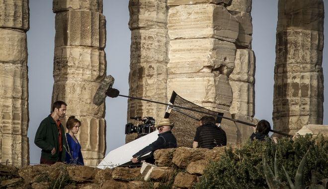 Γυρίσματα στον αρχαιολογικό χώρο του Σουνίου από τον σκηνοθέτη του Old Boy, Παρκ Τσαν Γουκ, για τη σειρά The Little Drummer Girl του BBC, την Πέμπτη 12 Απριλίου 2018.