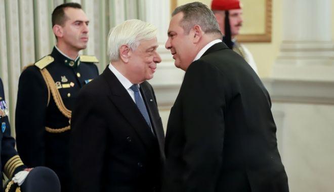 Ο Προκόπης Παυλόπουλος με τον Πάνο Καμμένο στο προεδρικό μέγαρο